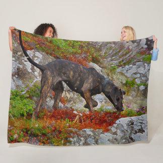 Cobertor De Velo Cão preto do laboratório que caça a arte acrílica