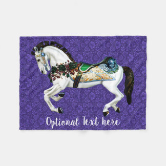 Cobertor De Velo Cavalo branco bonito do carrossel