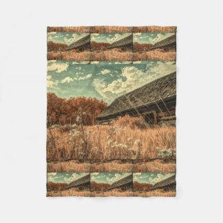 Cobertor De Velo celeiro velho da fazenda do wildflower do campo do