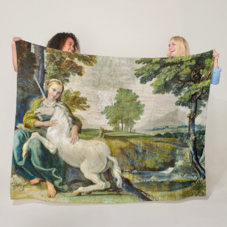 Cobertor De Velo Cetim medieval colorido da pintura do unicórnio