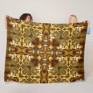 Cobertor De Velo Cetim tribal da mandala do ouro do leão africano