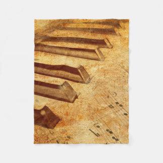 Cobertor De Velo Chaves do piano da folha de música do Grunge