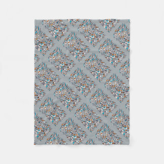 Cobertor De Velo Cinza Funky manchado de tinta da arte do teste