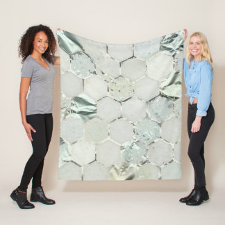 Cobertor De Velo Cinzas metálicas de pedra de mármore do branco do