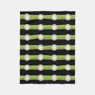 Cobertor De Velo Círculos verdes e pretos do minimalismo abstrato