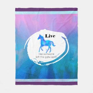 Cobertor De Velo Citações inspiradas com um cavalo que funciona