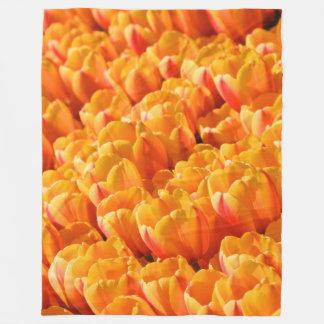 Cobertor De Velo Cobertura alaranjada do velo das tulipas, grande