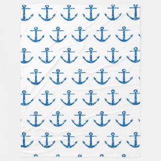 Cobertor De Velo Cobertura azul do teste padrão da âncora do brilho