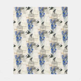 Cobertor De Velo Cobertura azul do velo das flores do Birdcage do