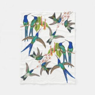 Cobertor De Velo Cobertura azul do velo das flores dos pássaros do