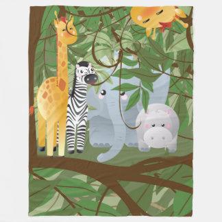 Cobertor De Velo Cobertura bonito do velo dos animais da selva
