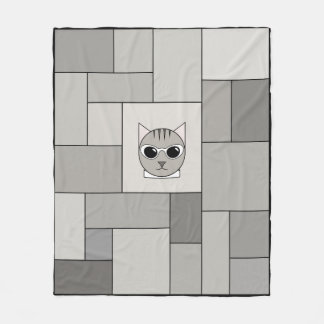 Cobertor De Velo Cobertura cinzenta dos retalhos do gato malhado