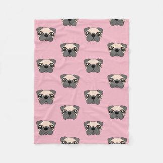 Cobertor De Velo Cobertura cor-de-rosa bonito da cara do Pug