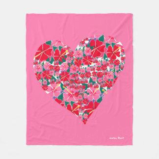 Cobertor De Velo Cobertura cor-de-rosa do velo do coração do