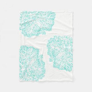Cobertor De Velo cobertura coral do velo do teste padrão do verde