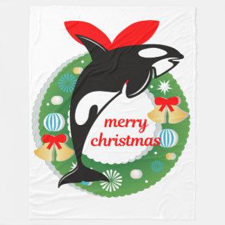 Cobertor De Velo cobertura da baleia de assassino do Feliz Natal