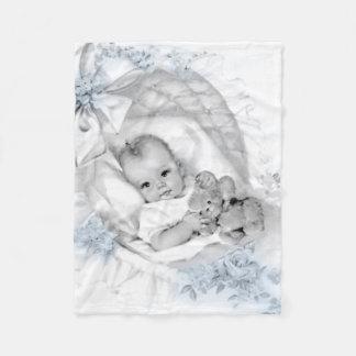 Cobertor De Velo Cobertura do bebé dos azuis bebés do vintage