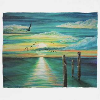 Cobertor De Velo Cobertura do lance do velo do por do sol do Aqua