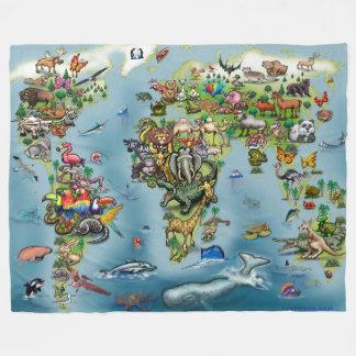 Cobertor De Velo Cobertura do mapa do mundo dos animais grande
