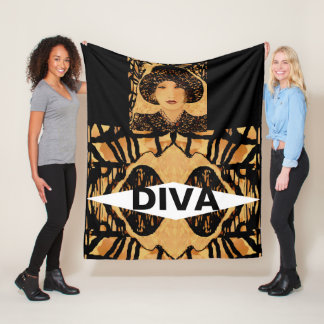 Cobertor De Velo Cobertura do velo da DIVA em Tan, creme, preto