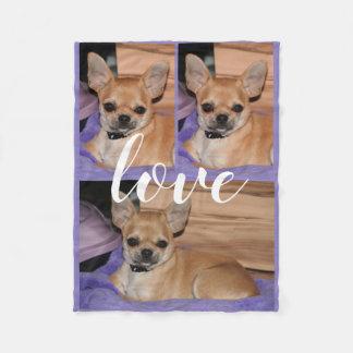 Cobertor De Velo Cobertura do velo da foto do amor da chihuahua do