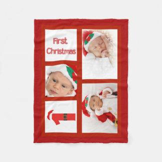 Cobertor De Velo Cobertura do velo da foto do Natal do bebê