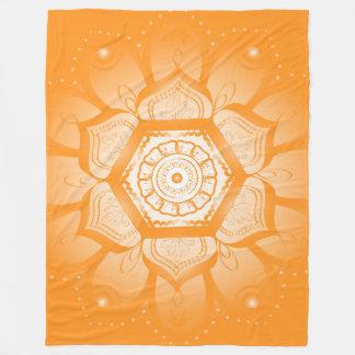 Cobertor De Velo Cobertura do velo da mandala alaranjada grande