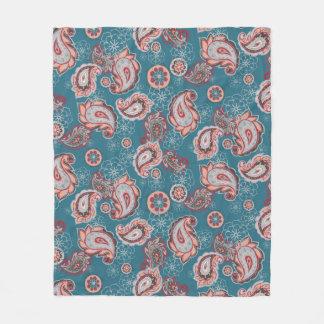 Cobertor De Velo Cobertura do velo de Boho Paisley de turquesa
