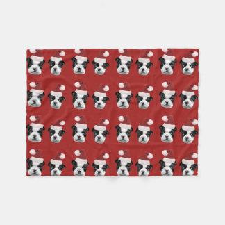 Cobertor De Velo Cobertura do velo de Boston Terrier do Natal