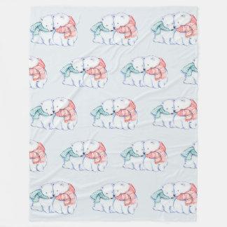 Cobertor De Velo Cobertura do velo de dois ursos polares
