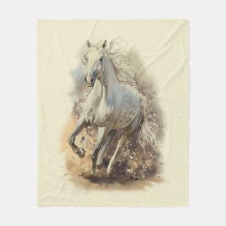 Cobertor De Velo Cobertura do velo do galope do cavalo branco