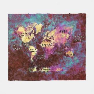 Cobertor De Velo cobertura do velo do mapa do mundo