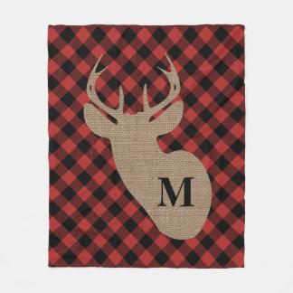 Cobertor De Velo Cobertura dos cervos do monograma da xadrez e da