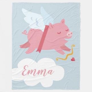 Cobertor De Velo Cobertura dos namorados do porco do Cupido