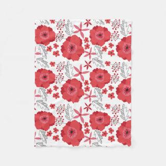 Cobertor De Velo Cobertura floral do velo da papoila vermelha