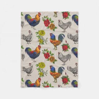 Cobertor De Velo Cobertura, galinhas e rosas macios do velo das