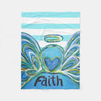 Cobertor De Velo Cobertura listrada azul de Chemo do anjo-da-guarda