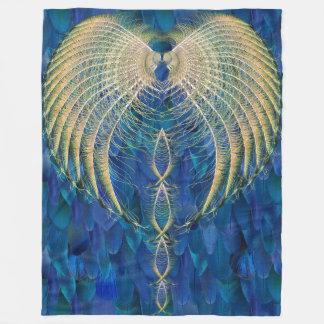 Cobertor De Velo Cobertura misturada de Rishi da pena dos azuis