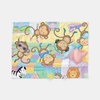 Cobertor De Velo Cobertura pequena da flanela de cinco macacos