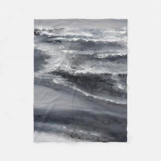 Cobertor De Velo Cobertura pequena do velo da praia preto e branco