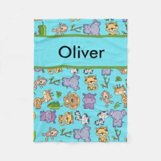 Cobertor De Velo Cobertura personalizada da selva de Aiden
