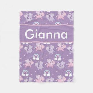Cobertor De Velo Cobertura personalizada do unicórnio de Gianna