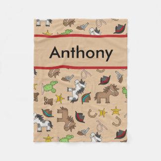 Cobertor De Velo Cobertura personalizada do vaqueiro de Anthony