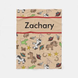 Cobertor De Velo Cobertura personalizada do vaqueiro de Zachary