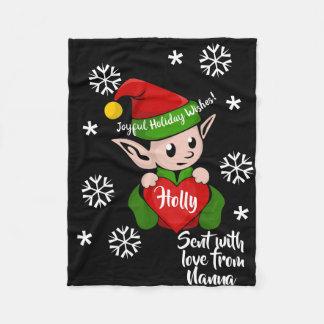 Cobertor De Velo Cobertura personalizada do velo do feriado duende