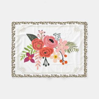 Cobertor De Velo Cobertura pintado à mão do velo do buquê da flor,