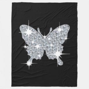 Cobertor De Velo Cobertura preta do velo da borboleta do diamante