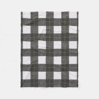 Cobertor De Velo Cobertura preta do velo da xadrez do ouro branco