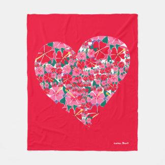 Cobertor De Velo Cobertura rosa vermelha do velo do coração do