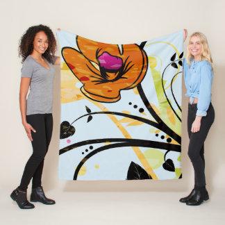 Cobertor De Velo Cobertura selvagem pintado mão do velo da flor da